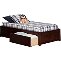 Concord Flat Panel Footboard with 2 Urban Bed Drawers, Twin, Antique Walnut