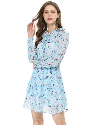 Allegra K Women's Floral Printed Ruffled Tie V Neck Smocked Waist Layered Vintage Chiffon Mini Dress S Light Blue