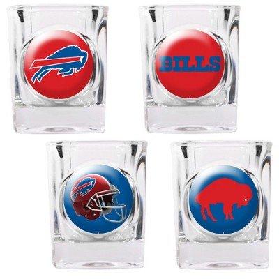 NFL Buffalo Bills Four Piece Square Shot Glass Set (Individual Logos)