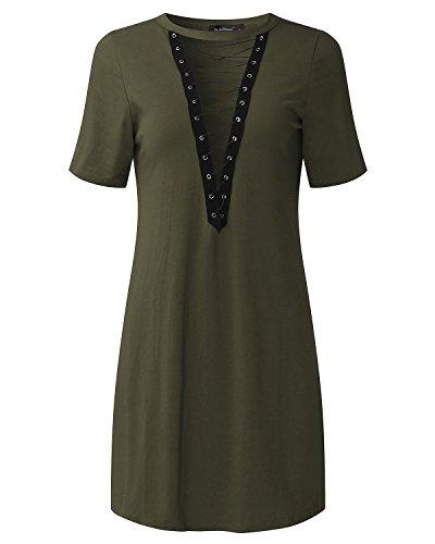 StyleDome - Camisas - camisa - Manga Larga - para mujer Blusa Verde Oscuro