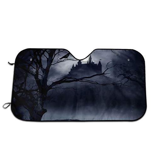 Gothic Decor Horrible Dark Night Scary Castle Crow Raven Bird Halloween Theme Auto Windwhield & Side Sun Shades for Car Auto (Sedan Truck SUV Van) - Accordion Style]()