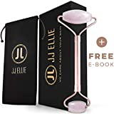 Facial Exercises Under Eye Wrinkles - Rose Quartz Roller for Face, Neck – 100% Authentic Premium Natural Rose Quartz Stone Massage Roller. For Anti Aging, Eye Puffiness, Slimming Facial Therapy Massager Tool – Best Jade Roller Alternative