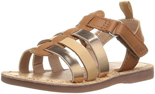 Little Girls Sandals (OshKosh B'Gosh Kaydin Girl's T-Strap Sandal, Brown/Pink, 8 M US Toddler)