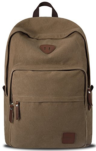 Vintage Canvas Laptop Backpack School College Rucksack Bag (Brown) - 1