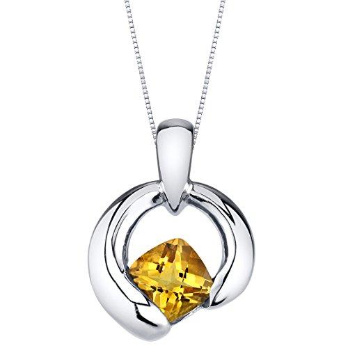 Citrine Sterling Silver Cushion Cut Orbit Pendant Necklace