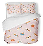Emvency 3 Piece Duvet Cover Set Breathable Brushed Microfiber Fabric Hawaii Summer Time Beach in People Swimming Sunbathing and Relaxing The Ocean Sea Bedding Set with 2 Pillow Covers Twin Size