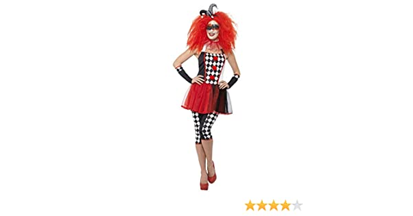 Womens Twisted Clown Circus Carnival Halloween Fancy Dress Costume