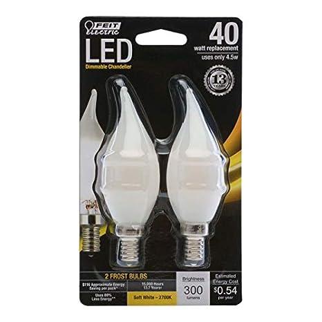 FEIT ELECTRIC BPCFF40/827/LED/2 Dimmable Led Bulb, 40 Watt Equivalent, 120 Volt, 300 Lumens, Candelabra Base, 2700K, CRI >80, Soft White, 2 Pack - - Amazon. ...