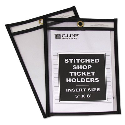 Shop Ticket Holders, Stitched, Both Sides Clear, 5 x 8, 25/BX, Sold as 1 Box, 8PACK , Total 8 Box