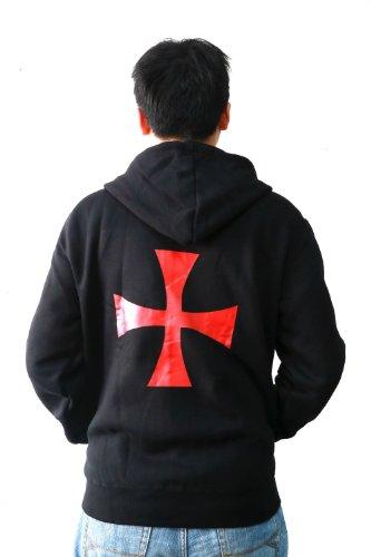 XCOSER Men's Casual Zip Up Hoodie Sweatshirt with Cross Pattern C7 XL