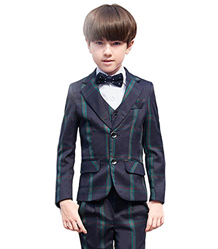 SK Studio Boys' Stripe 5 Pieces Classic Fit Formal Wedding Suits Green by SK Studio
