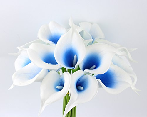 10pc set Real Touch calla lily-keepsake artificial flower perfect for cut to make boutonniere corsage bouquets (Picasso Royal blue) (Silk For Flowers Corsages)