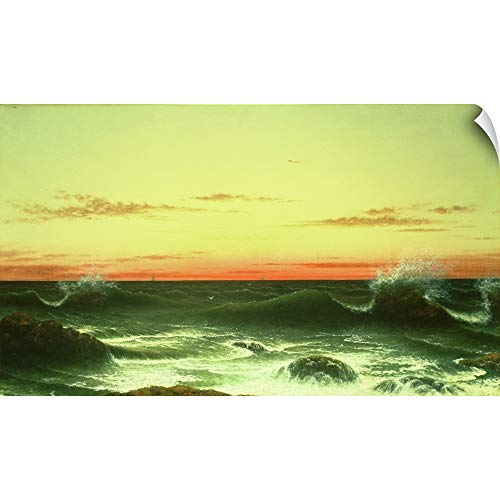 Canvas on Demand Martin (1819-1904) Heade Wall Peel Wall Art Print Entitled Seascape: Sunset, 1861 72