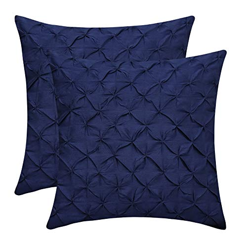 The White Petals Navy Blue Euro Sham Covers (Faux Silk, Pinch Pleat, 26x26 inch, Pack of 2) (And Sham Euro White Navy)