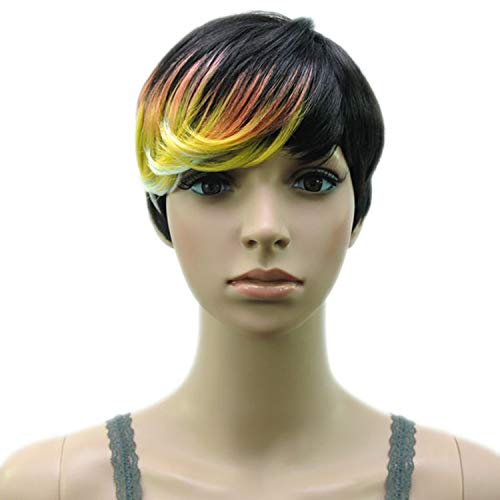 Synthetic Muti Color Bangs High Temperature Fiber Woman Short Hair Wig 18 Colors,blonde -