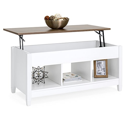 Best Choice Products Multifunctional Modern Coffee Table Desk Dining Furniture for Home, Living Room, Décor, Display w/Hidden Storage and Lift Tabletop - White/Brown ()