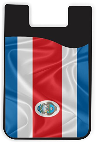 Costa Rica Cards Phone (Rikki Knight Costa Rica Flag Design Silicone Phone Card Holder wallet for iPhone/Galaxy all Android Smartphones - with removable soft microfiber screen cleaner)