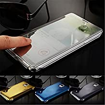 Luxury Smart Flip Slim S-View touch Electroplated Mirror Hard Clear Transparent Case Cover for Samsung Galaxy Note 4 ( Color : Light Blue , Compatible Models : Galaxy Note 4 )