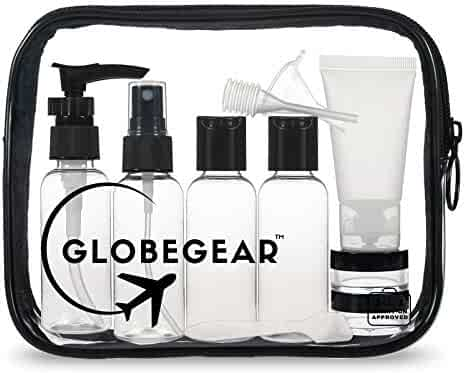 GLOBEGEAR Travel Bottles & TSA Approved Toiletry Bag Clear Quart Size with Leak-Proof Travel Accessories & Containers for Liquids 3-1-1 Carry-On Luggage Compliant for Airplaine - Women/Men