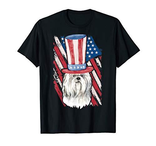 Shih Tzu Dog T-Shirt US Flag Hat 4th July President Day Tee