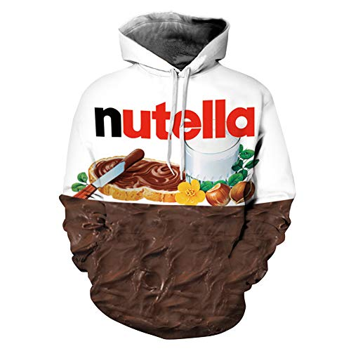 Ocamo Street Style Sweatshirt Pullover Jumpers 3D Nutella Chocolate Printed Hoodie for Men and Women Chocolate L