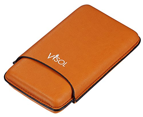 Visol Products VCASE729 Visol Dakota Tan 60 Ring Gauge Cigar Case - Holds 3 Cigars (Case Leather Finger Cigar 3)