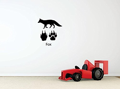 Wild Animal Paw Prints (Design with Vinyl 3 Pro 01 Decor Item Fox paw Prints Wild Outdoor Animal Wall Decal Peel and Stick Sticker Mural, 40 x 40-Inch, Black)