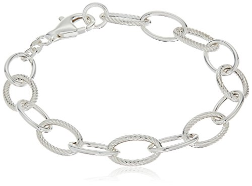 Sterling Silver Twisted and Polished Oval Link Bracelet, (Sterling Link)