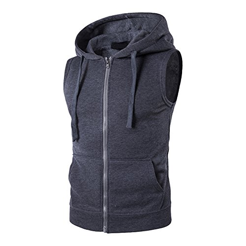 Sans À Bmeigo Veste Grey Homme Lightweight Zip Sports Casual Capuche Manches Up Dark EEZqS