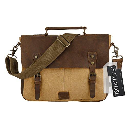 - P.KU.VDSL 6807 Messenge Bag, Men's Vintage Genuine Leather Laptop Bags, Canvas Handbag Briefcase Satchel Shoulder Bag Fits 14 inch Laptop