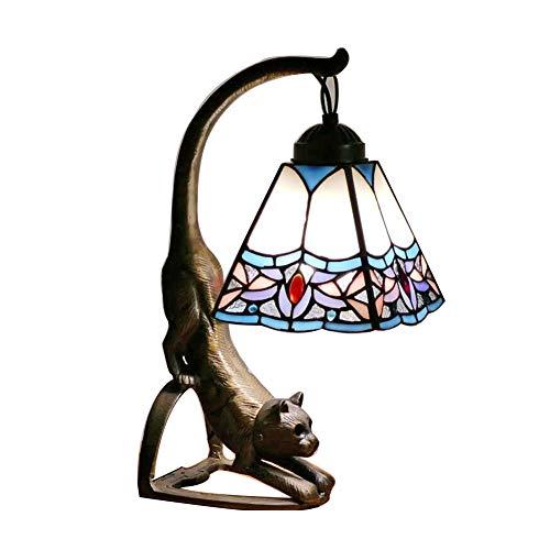 (CCSUN E26 Handmade Tiffany Style Table lamp,Retro Art Animal Base Decoration Nightstand lamp for Bedroom Living Room Colorful Lighting Fixture-E)
