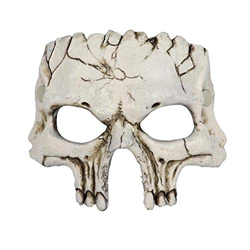 Halloween PU Foaming Festival Party Show Celebration Prop Bar Terror Decoration Bloody Half Face Skull Mask Headgear (White)]()