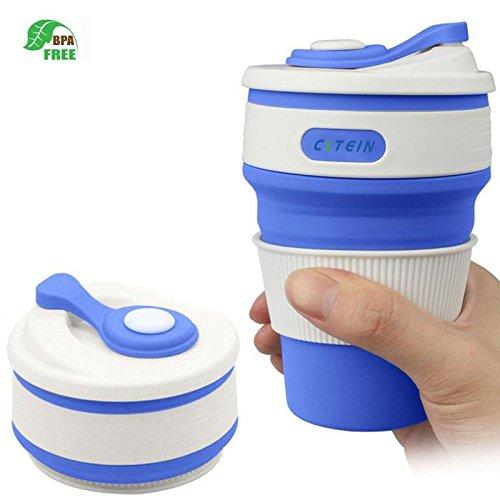 Microwave Safe Travel Mug (Coffee Travel Mug -CLTEIN Collapsible Certified BPA FREE Food-grade Silicone Pocket-sized Camping Mug with Lid Portable and Reusable for Travel,Camping and Hiking, Microwave Safe-12oz (blue))