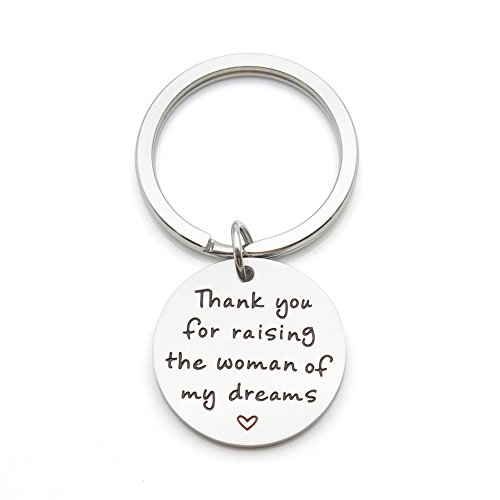 Thank You for Raising the Woman of My Dreams Mother Gift Mother in Law Future Mother Groom Bride Wedding Stainless Steel Pendant Keychain Key (Thank You Wedding Keychains)