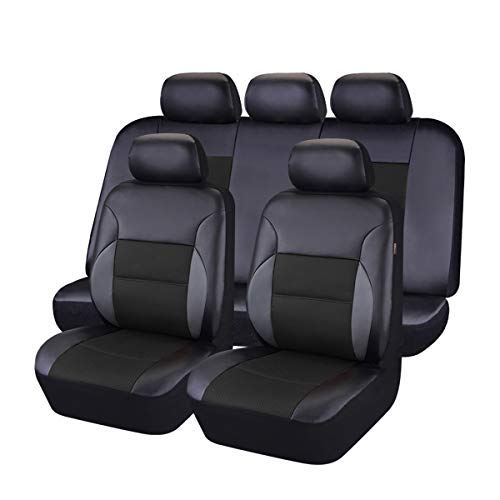 CAR PASS - 11PCS Luxurous PU Leather Automotive Universal Seat Covers Set Package-Universal fit for Vehicles with Super 5mm Composite Sponge Inside,Airbag Compatible (Black and Black)