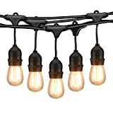 Mpow 49ft LED String Lights, Waterproof Dimmable Outdoor String Lights, 15 x E26 Hanging Sockets, 1.5W Vintage Bulbs, Heavy Duty Connectable Edison String Lights for Patio Backyard - Black