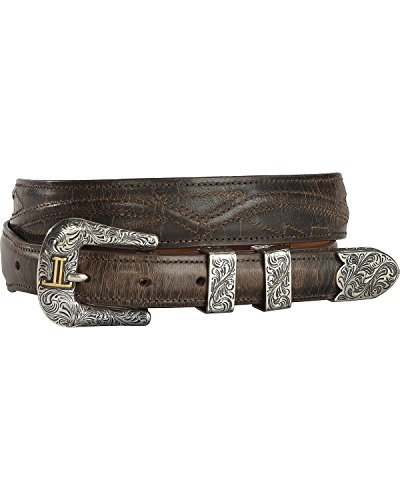 (Lucchese Men's Burnished Goat Seville Stitch Leather Belt Chocolate)