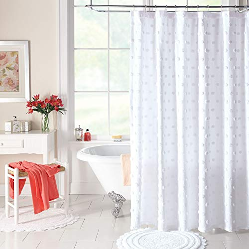 BrylaneHome Georgia Chenille Shower Curtain - White
