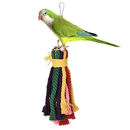 Parrot Toy Rainbow Bridge Birds Hanging Toy Biting Chewing Cotton Rope String Blocks Tearing Toys for Birds Suggested for African Grey Cockatoos, and a Variety of Amazon Parrots. (Random)