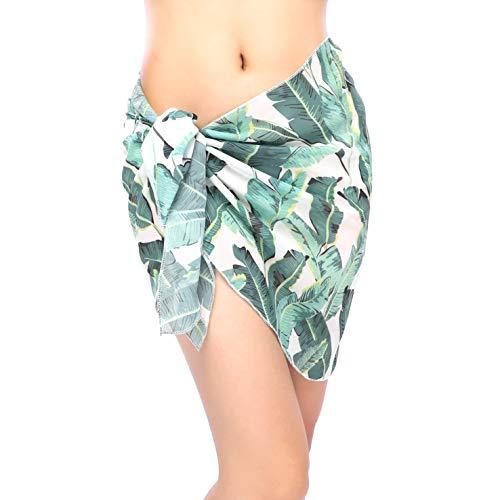 ChinFun Women's Sarong Wrap Beach Swimwear Chiffon Cover Up Short Pareo Bikini Swimsuit Wrap Skirt Bathing Suit Shawl Semi-Sheer Translucent Banana Leaves Pattern Plus Size ()