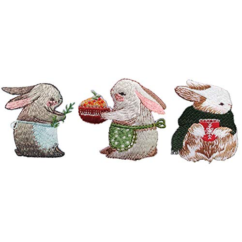 Gnognauq 3 Pack Rabbit Embroidery Patches,Easter Bunny Patches, Cute Rabbits Embroidery Patches, Iron On Patches Perfect for Backpack and Jackets