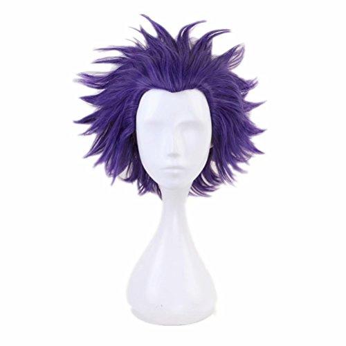 COSPLAZA Cosplay Wigs Short Blue/Purple Slick Black Men Boy Cosplay Costume Wig Thick Hairs ()