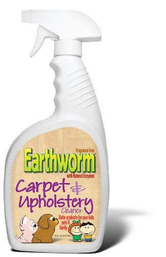 Upholstery Fabric Cleaner - Earthworm Carpet & Upholstery Cleaner Spot & Stain Remover - Natural Enzymes, Safer for Family, Environmentally Responsible - 22 oz