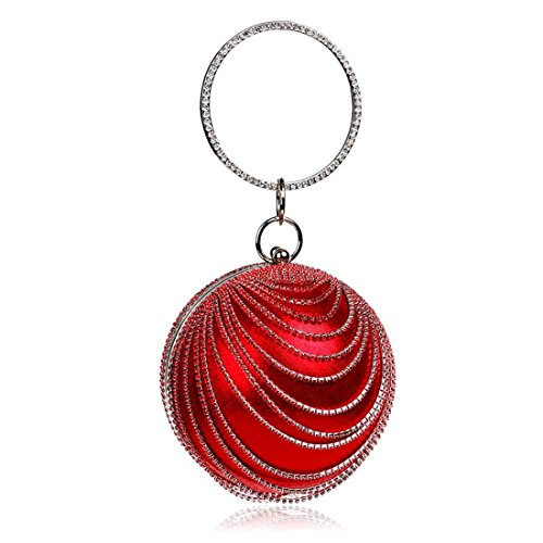 Red boule ronde de Fashion embrayage Prom en Party main Tsutou Femme daim sac soirée sac à xqCZZH