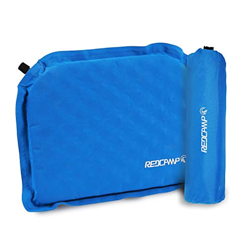 REDCAMP Self Inflatable Seat Cushion for Camping Stadium, Compact Lightweight Self Inflating Bleacher Cushion with Storage Bag, Well Insulated