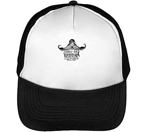 Blanco Snapback Moustache Black White amp; Hombre Negro Beisbol Gorras fz1qpz