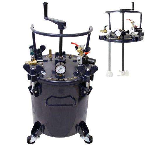 TCP Global Commercial 5 Gallon (20 Liters) Spray Paint Pressure Pot Tank with Manual Mixing Agitator