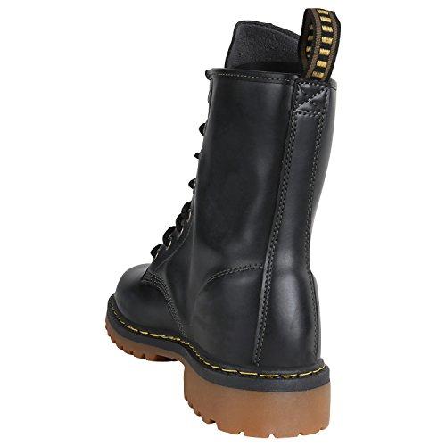 Stiefelparadies Herren Worker Boots Stiefeletten Leder-Optik Camouflage Stiefel Army Look Schuhe Profilsohle Schnürschuhe Flandell Schwarz Lasche