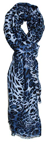 Ted and Jack - Oversized Classic Leopard Print Fashion Scarf (Blues)