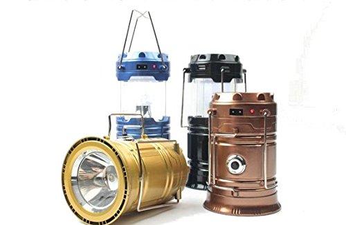 Smart-US Outdoor travel essential Portable Flashlight LED camping lantern line charging, solar charging,Night lighting (Golden)